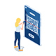 Isometric Woman Use Smartphone Scanning QR Code - GraphicRiver Item for Sale