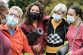 Multi generational women having fun before yoga class wearing safety masks at park outdoor - PhotoDune Item for Sale