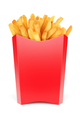 Red box for french fries isolated on white. 3d rendering illustration and photo. - PhotoDune Item for Sale