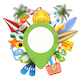 Vector Beach Concept with Pick Point - GraphicRiver Item for Sale