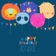 Birthday Card with Cute Balloon Faces Animals - GraphicRiver Item for Sale