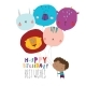 Birthday Card with Cute Boy Holding Funny Balloons - GraphicRiver Item for Sale