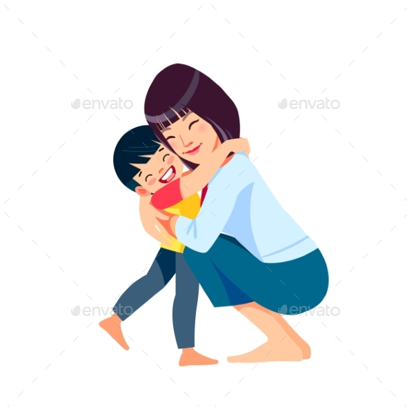 Asian Woman Mother and Child