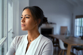 Thoughtful black woman looking outside window - PhotoDune Item for Sale