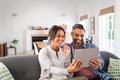 Happy multiethnic couple doing video call - PhotoDune Item for Sale