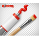 Vector Realistic Paint Tube and Paintbrush - GraphicRiver Item for Sale