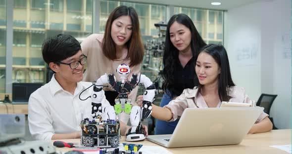 Startup team developing robotic
