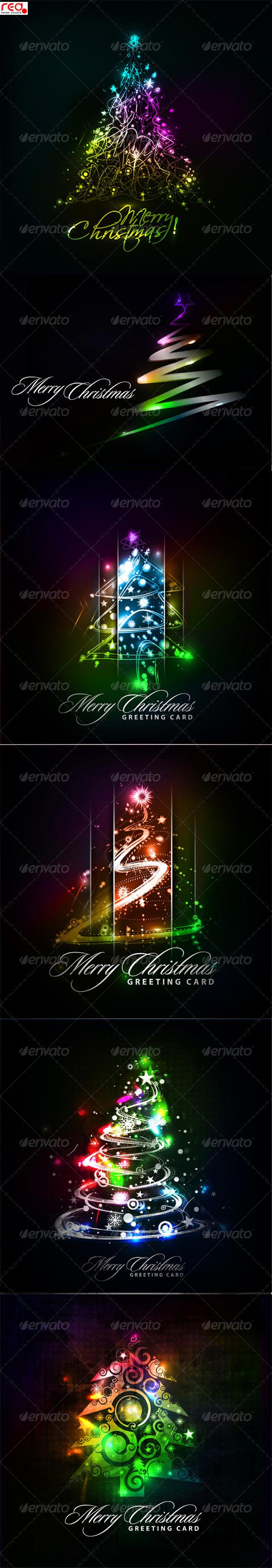 Christmas Tree Background Set