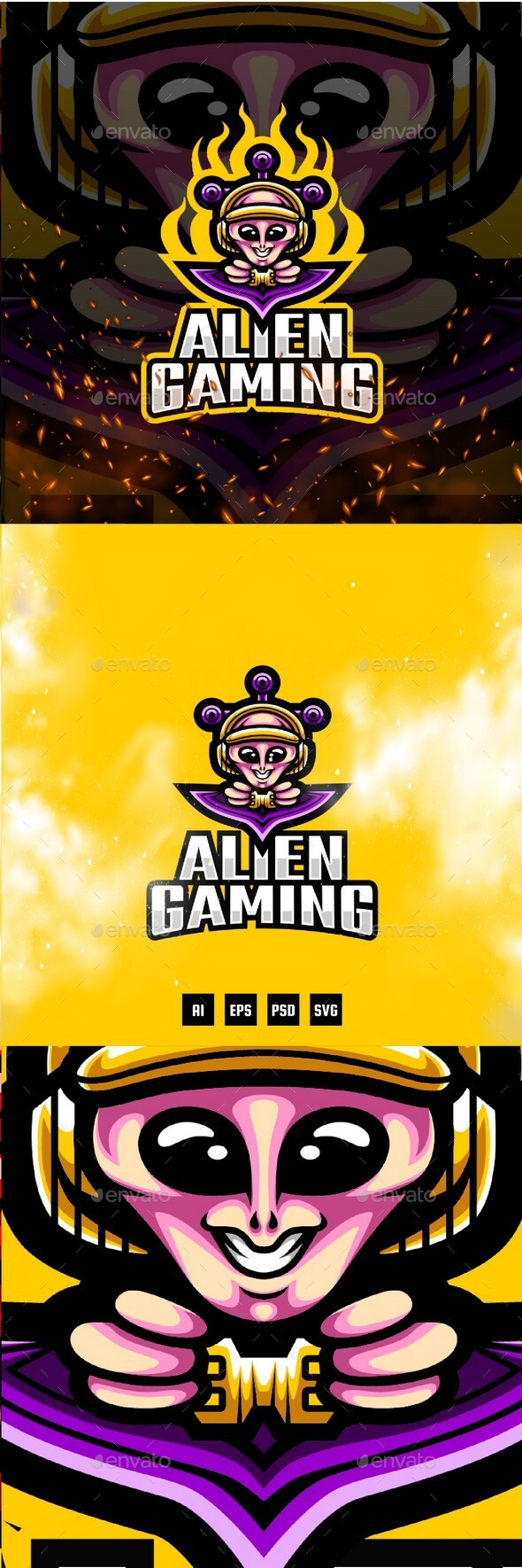 Alien Gaming E-sport and Sport Logo Template