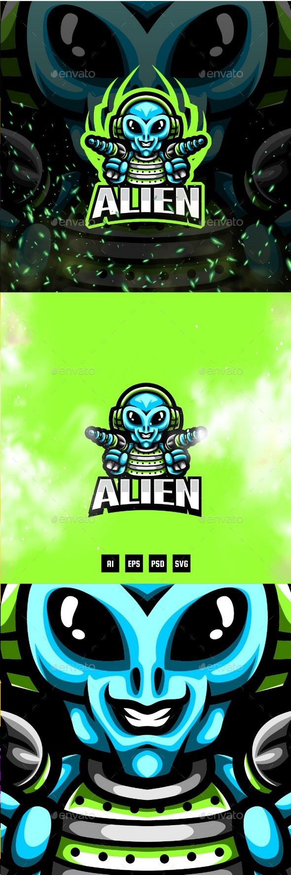 Alien E-Sport and Sport Logo Template