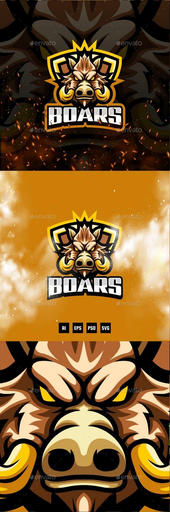 Boars E-Sport and Sport Logo Template