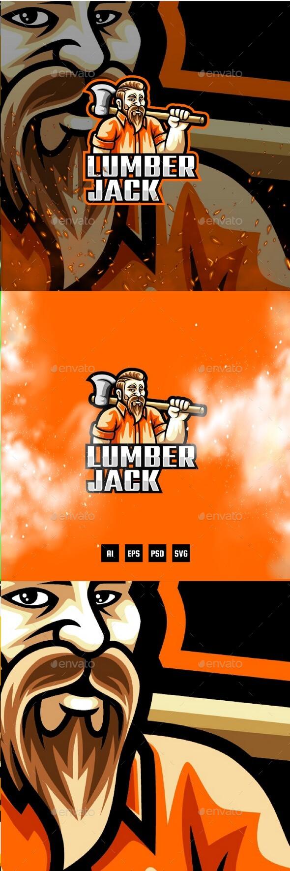 Lumberjack E-Sport and Sport Logo Template
