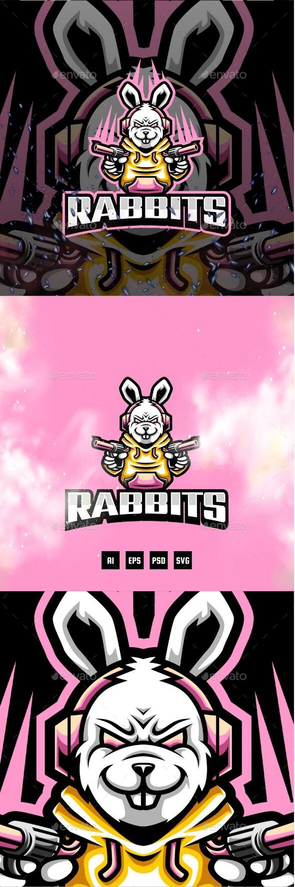 Rabbits E-Sport and Sport Logo Template