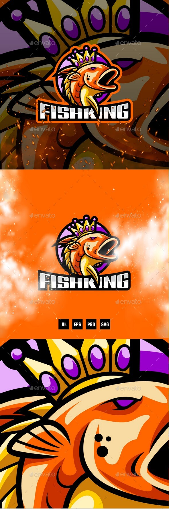 Fish King E-Sport and Sport Logo Template