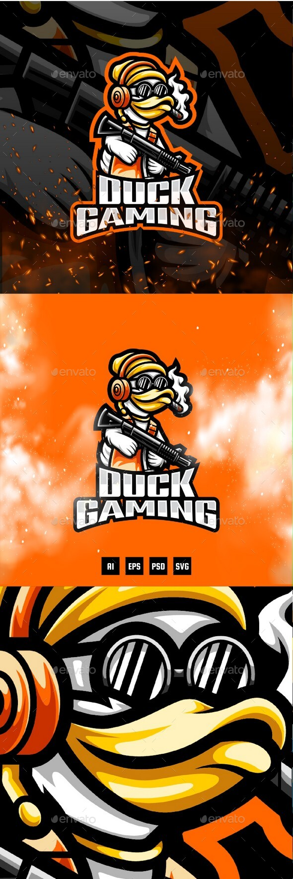 Duck Gaming E-Sport and Sport Logo Template