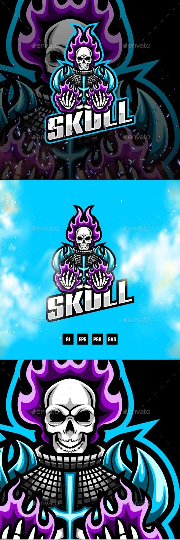 Skull E-Sport and Sport Logo Template