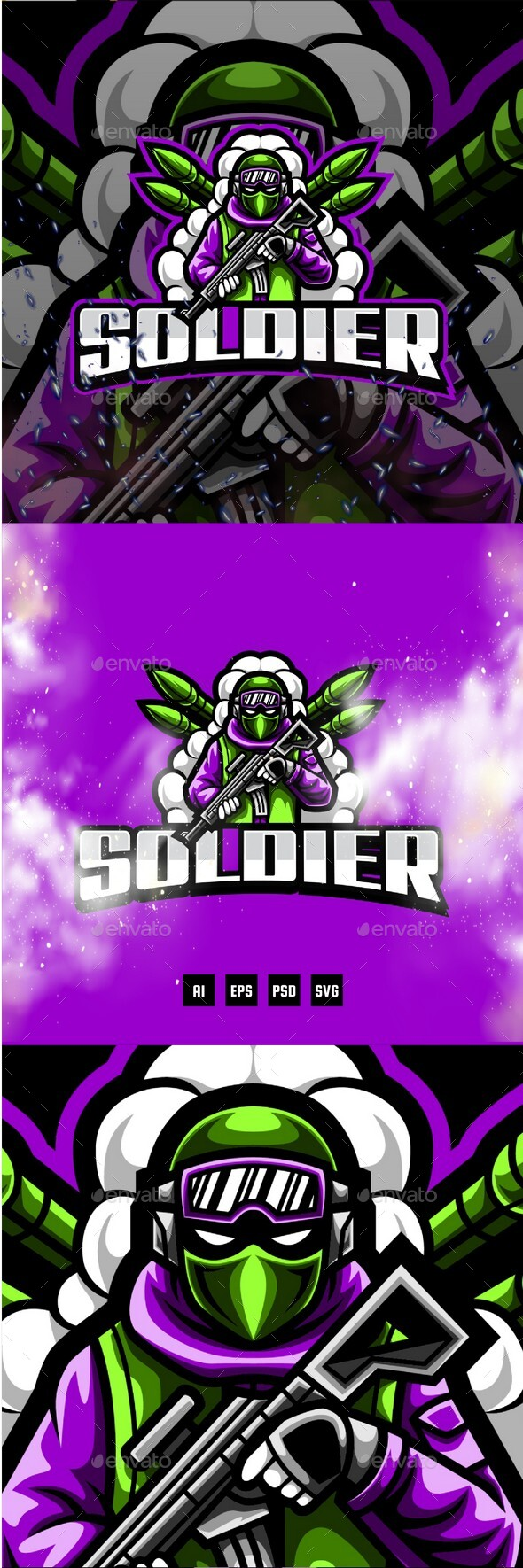 Soldier E-Sport and Sport Logo Template