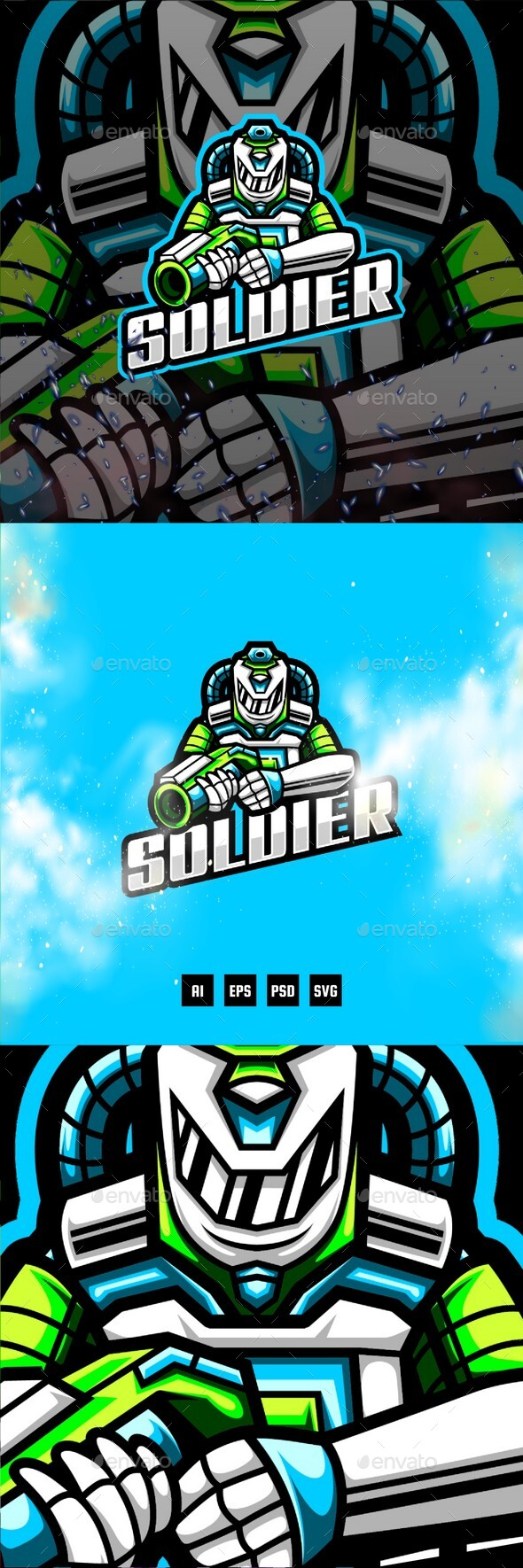 Soldier Gaming E-Sport and Sport Logo Template