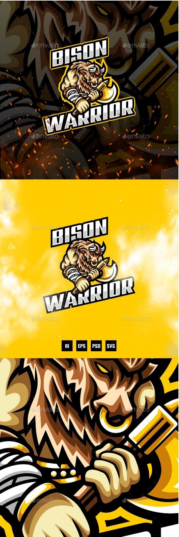 Bison Warrior E-Sport and Sport Logo Template