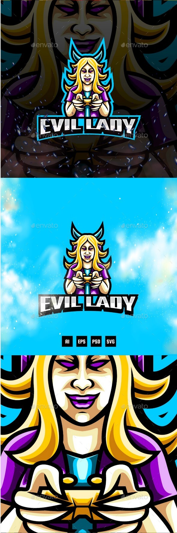 Evil Lady E-Sport and Sport Logo Template