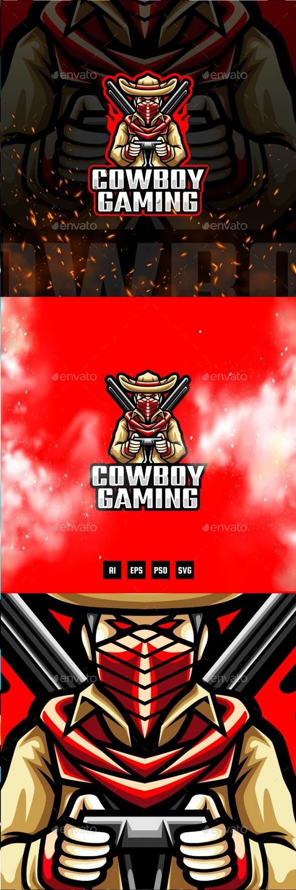 Cowboy E-Sport and Sport Logo Template