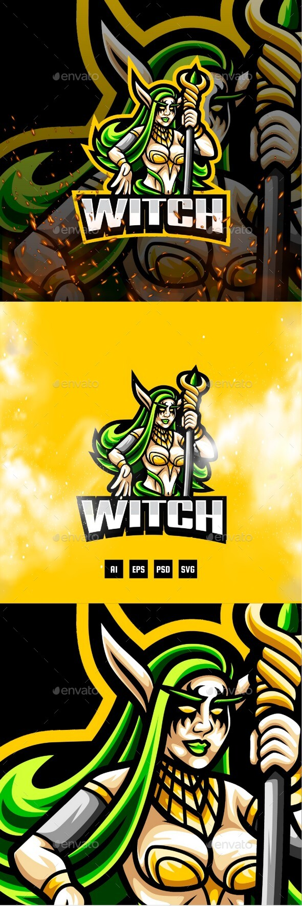 Witch E-Sport and Sport Logo Template
