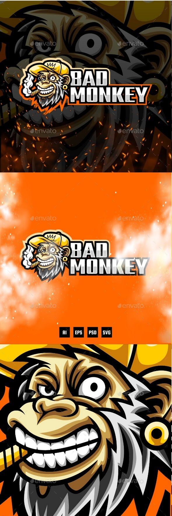 Bad Monkey E-Sport and Sport Logo Template