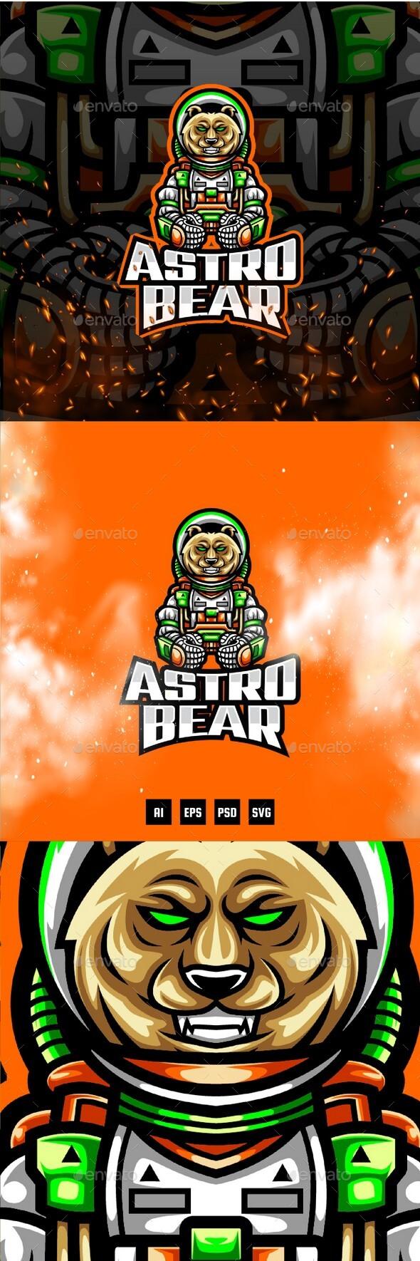 Astro Bear E-Sport and Sport Logo Template
