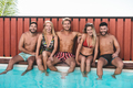 Happy people having fun at pool party outdoor during summer vacations - Focus on faces - PhotoDune Item for Sale