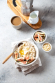 Healthy Oatmeal with figs. Coffee, oatmeal breakfast concept - PhotoDune Item for Sale