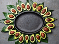 Avocado and avocado tree leaves frame around empty plate. Copy space food background - PhotoDune Item for Sale
