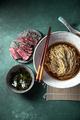 Japanese ramen. Asian soup with noodles ramen, miso, fried tuna steak and seaweed algae - PhotoDune Item for Sale