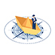Isometric Businessman Standing on Paper Boat Over The Compass - GraphicRiver Item for Sale