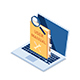 Isometric User Manual with Magnifying Glass on Laptop Monitor - GraphicRiver Item for Sale
