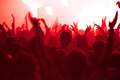 Concert crowd with raised arms applauding and partying at music festival in red stage lights - PhotoDune Item for Sale