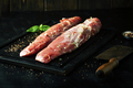 Fresh raw meat marinated with spices on a dark background - PhotoDune Item for Sale