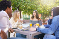 Multi-ethnic group of students having a drink on the terrace of a street bar - PhotoDune Item for Sale