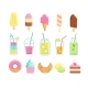 Set of Tasty Sweet Summer Drinks and Food Icons - GraphicRiver Item for Sale