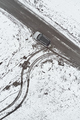 Aerial view of car on the road in winter morning - PhotoDune Item for Sale
