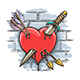 Heart Pierced by Dagger and Arrows Colorful Tattoo - GraphicRiver Item for Sale