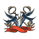 Swallows with Keys and Ribbon Tattoo Illustration - GraphicRiver Item for Sale