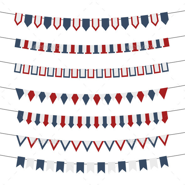 4Th of July Vector Bunting Banners Set