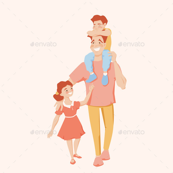 Happy Father Bonding with Kids Son and Daughter