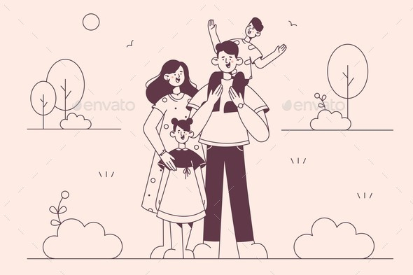 Happy Family with Children Concept