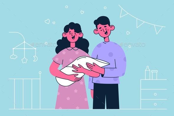 Newborn Child and Happy Family Concept