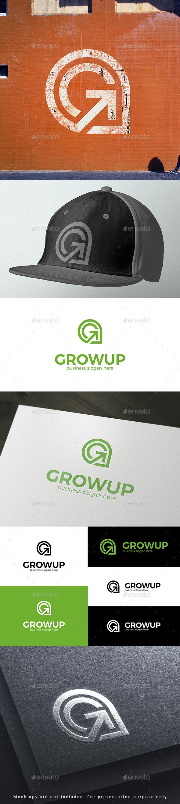 Arrow Up Grow Symbol Logo