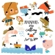 Set with Cartoon Animals Celebrating Pirate Party - GraphicRiver Item for Sale