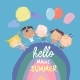 Happy Children Running on Rainbow with Balloon - GraphicRiver Item for Sale