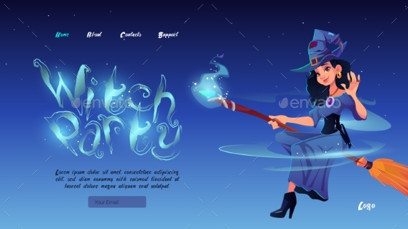 Witch Party Cartoon Landing Page Halloween Night