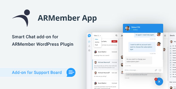 ARMember Chat & Tickets App for Support Board